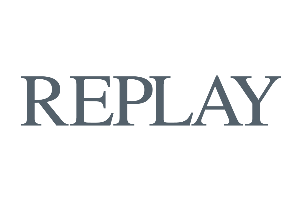 Replay logo in grey color