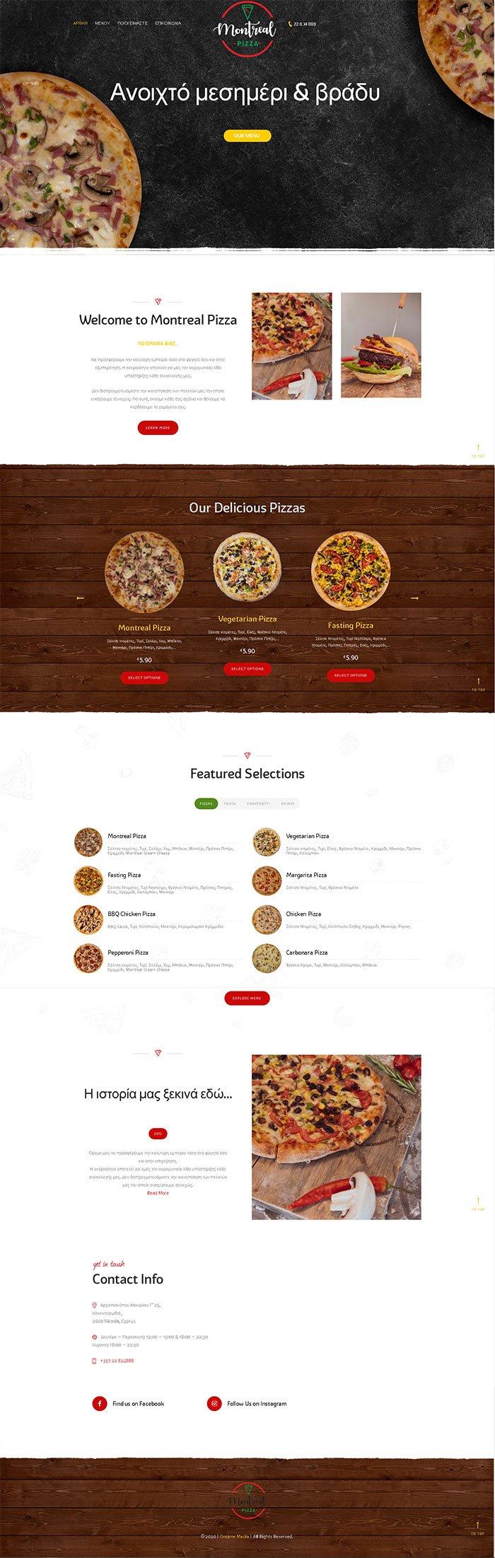 Montreal pizza website mockup