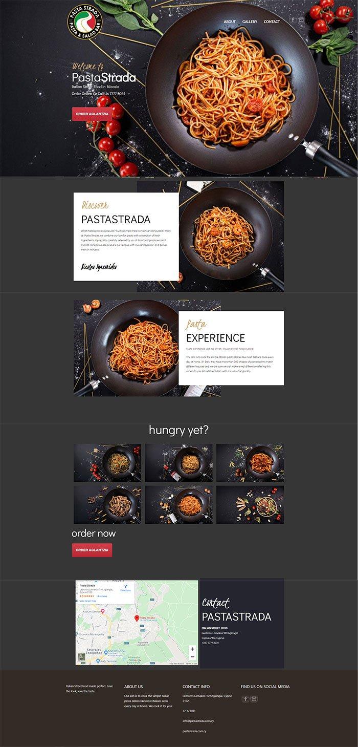 Pasta strada website mockup