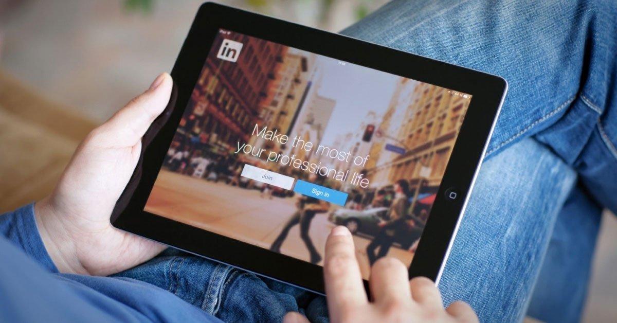 LinkedIn on tablet